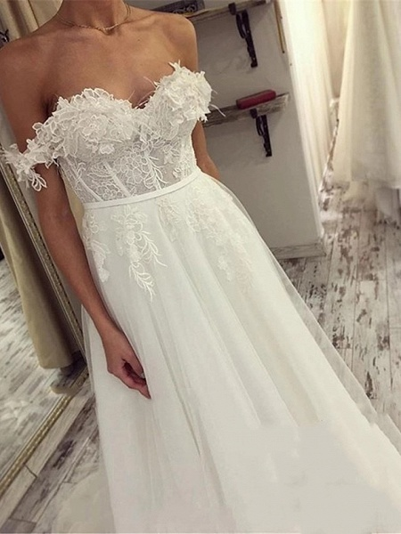 A-Line Wedding Dresses Off Shoulder Sweep \ Brush Train Lace Tulle Short Sleeve Sexy Plus Size_3