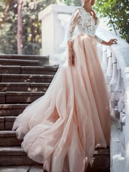A-Line Wedding Dresses Plunging Neck Sweep \ Brush Train Polyester 3\4 Length Sleeve Country Plus Size_1
