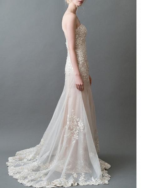 Mermaid \ Trumpet Sweetheart Neckline Sweep \ Brush Train Tulle Strapless Wedding Dresses_2