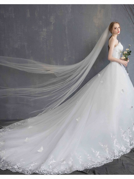 Ball Gown Wedding Dresses Strapless Chapel Train Lace Tulle Lace Over Satin Strapless Formal Vintage Illusion Detail_13