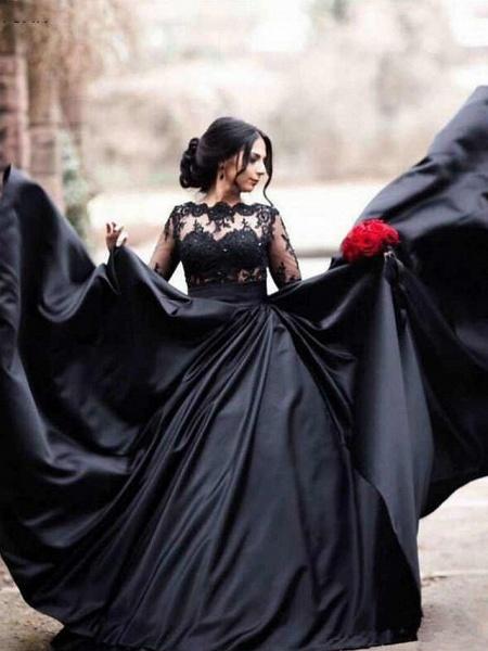 A-Line Bateau Neck Floor Length Lace Satin Long Sleeve Black Modern Illusion Sleeve Wedding Dresses_1