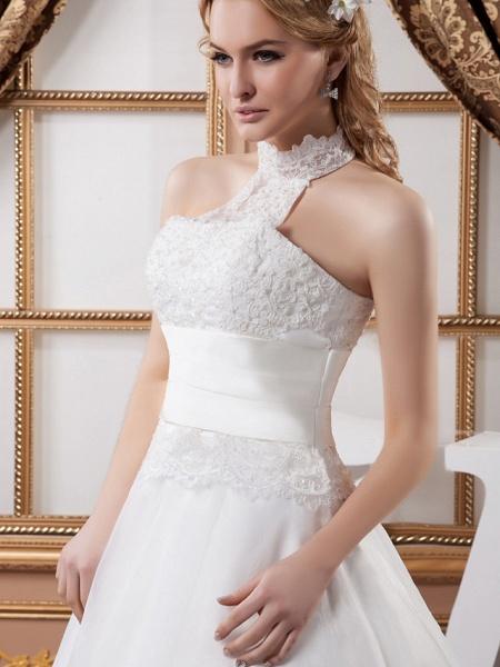 A-Line High Neck Court Train Lace Satin Tulle Regular Straps Wedding Dresses_5