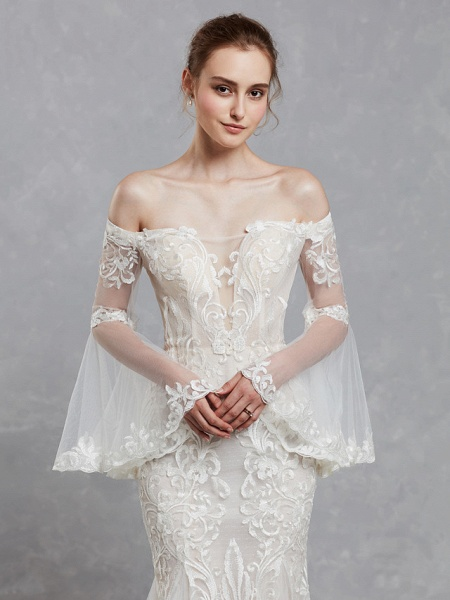 Mermaid \ Trumpet Off Shoulder Court Train Lace Tulle Long Sleeve Romantic Boho See-Through Backless Illusion Sleeve Wedding Dresses_8
