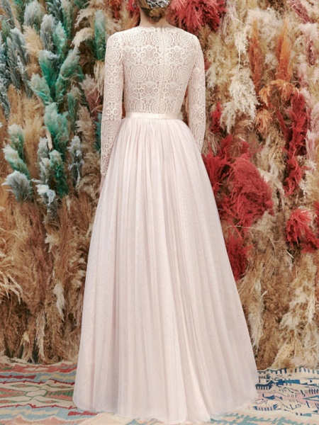 A-Line Wedding Dresses Jewel Neck Floor Length Lace Tulle Long Sleeve Romantic Wedding Dress in Color_3