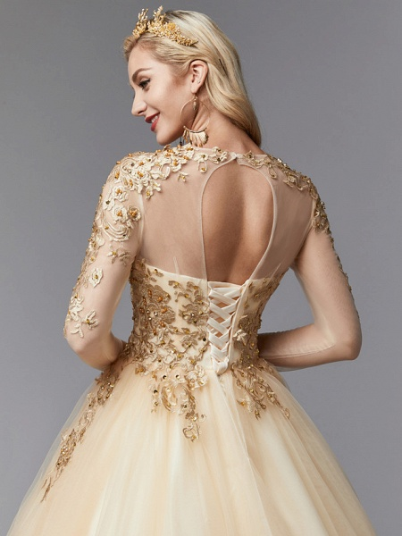 Ball Gown Wedding Dresses Jewel Neck Sweep \ Brush Train Lace Tulle Long Sleeve Glamorous See-Through Backless Modern_6