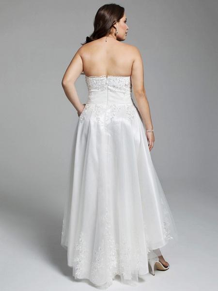 A-Line Wedding Dresses Strapless Asymmetrical Lace Tulle Strapless Little White Dress Open Back_2
