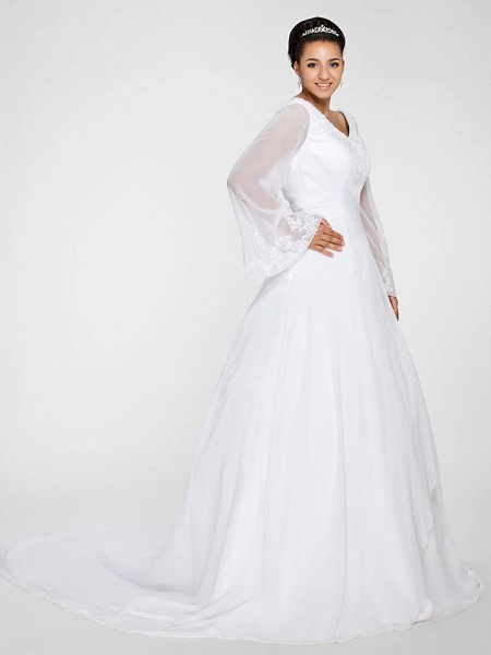 Ball Gown A-Line Wedding Dresses V Neck Court Train Chiffon Long Sleeve Formal Plus Size Illusion Sleeve_2