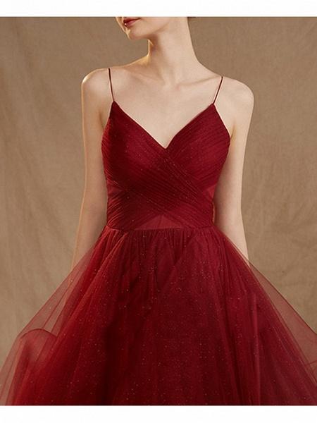 A-Line Wedding Dresses V Neck Floor Length Tulle Sleeveless Romantic Plus Size Red_4