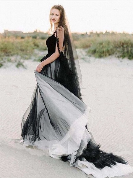 A-Line Wedding Dresses Scoop Neck Sweep \ Brush Train Lace Tulle Sleeveless Sexy Plus Size Black Modern_4
