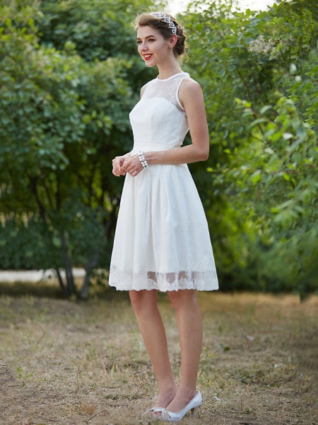 A-Line Wedding Dresses Jewel Neck Knee Length Lace Sleeveless Little White Dress_5