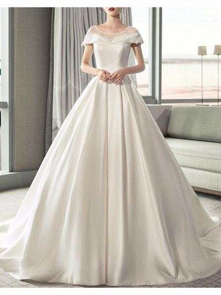 A-Line Jewel Neck Sweep \ Brush Train Lace Tulle Regular Straps Formal Plus Size Elegant Wedding Dresses_1