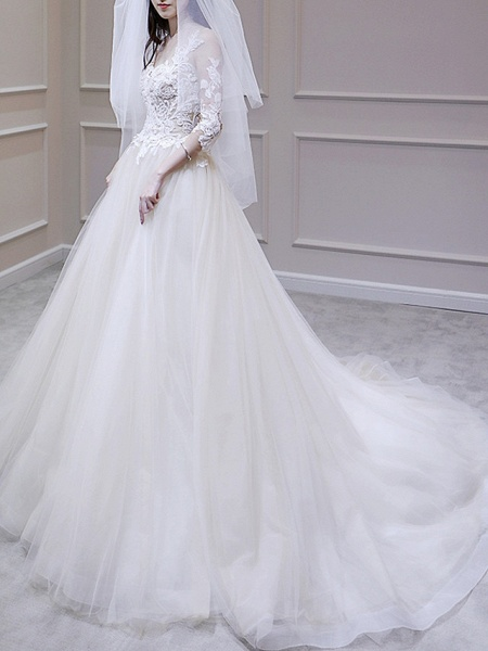 A-Line Wedding Dresses V Neck Court Train Lace Tulle 3\4 Length Sleeve Illusion Sleeve_2