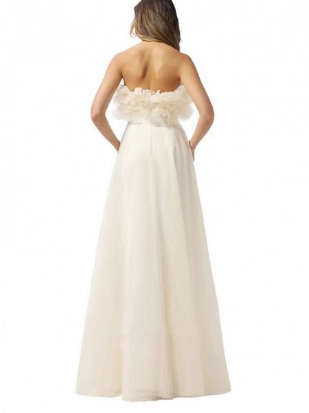 A-Line Wedding Dresses Strapless Floor Length Tulle Chiffon Over Satin Sleeveless Vintage_2