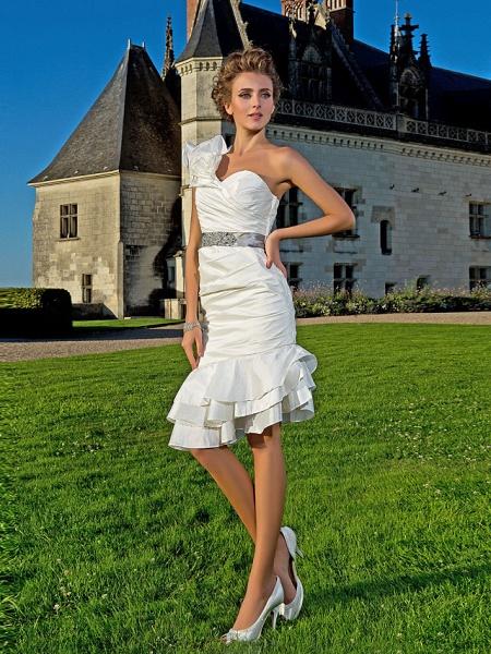 Sheath \ Column Wedding Dresses One Shoulder Asymmetrical Knee Length Taffeta Sleeveless Little White Dress_3