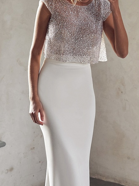 Two Piece Mermaid \ Trumpet Wedding Dresses Jewel Neck Court Train Tulle Sequined Chiffon Over Satin Cap Sleeve Sexy See-Through_3