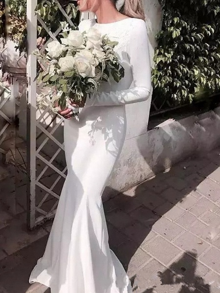 Mermaid \ Trumpet Jewel Neck Floor Length Satin Long Sleeve Casual Plus Size Wedding Dresses_1