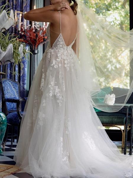 A-Line Plunging Neck Sweep \ Brush Train Tulle Polyester Sleeveless Boho Plus Size Wedding Dresses_3