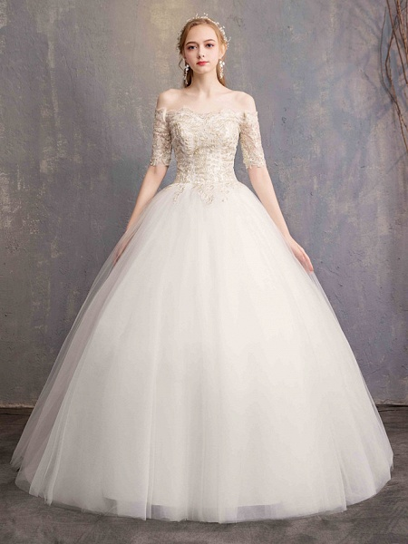 Ball Gown Wedding Dresses Off Shoulder Floor Length Tulle Lace Over Satin Half Sleeve Glamorous Illusion Detail_1