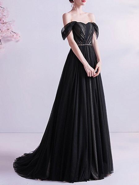 A-Line Wedding Dresses Off Shoulder Sweep \ Brush Train Tulle Cap Sleeve Formal Black Modern_3