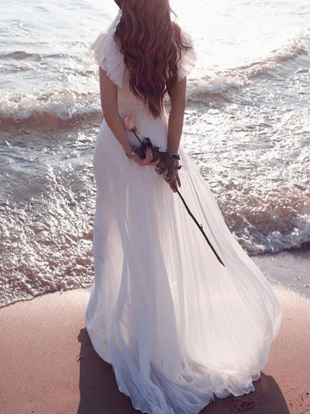 A-Line Wedding Dresses Plunging Neck Sweep \ Brush Train Chiffon Chiffon Over Satin Short Sleeve Country Beach Plus Size_1