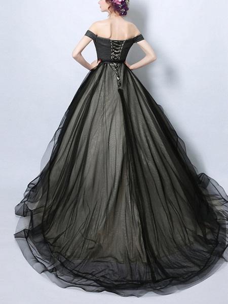 A-Line Wedding Dresses Off Shoulder Court Train Tulle Regular Straps Formal Black_2