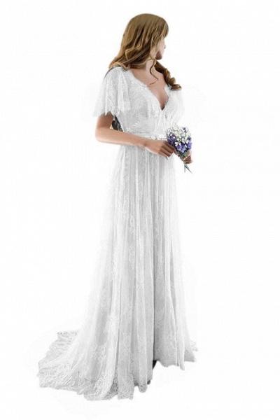 Gorgeous V-Neck Cap Sleeves Lace Wedding Dresses_2