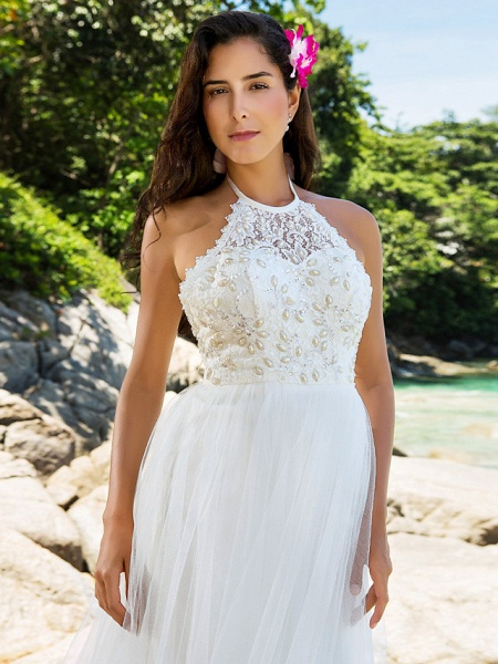 Princess A-Line Wedding Dresses Halter Neck Chapel Train Lace Organza Sleeveless Open Back_5