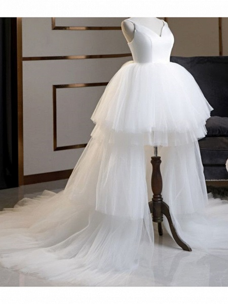 A-Line Wedding Dresses V Neck Asymmetrical Lace Tulle Spaghetti Strap Formal Plus Size Black Red_3