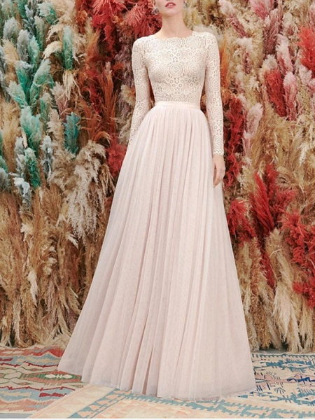 A-Line Wedding Dresses Jewel Neck Floor Length Lace Tulle Long Sleeve Romantic Wedding Dress in Color_1
