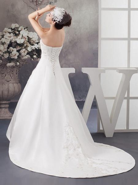 A-Line Strapless Chapel Train Lace Satin Strapless Wedding Dresses_3