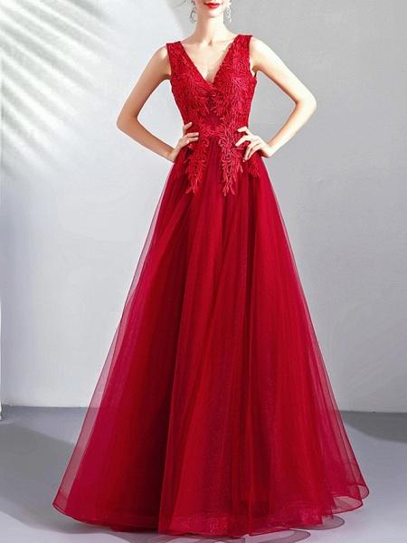 A-Line Wedding Dresses V Neck Floor Length Tulle Regular Straps Romantic Plus Size Red_2
