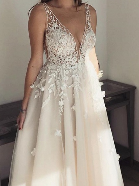 A-Line Wedding Dresses Plunging Neck Floor Length Lace Tulle Sleeveless Country Sexy See-Through Plus Size_2