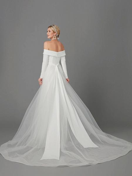 A-Line Wedding Dresses Off Shoulder Chapel Train Chiffon Tulle Long Sleeve Sexy_4