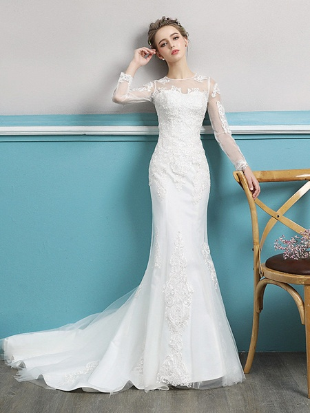 Mermaid \ Trumpet Wedding Dresses Jewel Neck Court Train Lace Tulle Polyester Long Sleeve Sexy Illusion Sleeve_1