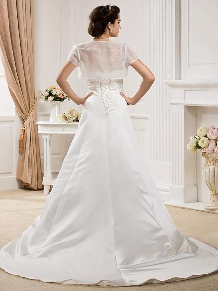 Princess A-Line Wedding Dresses Strapless Court Train Organza Satin Sleeveless_4