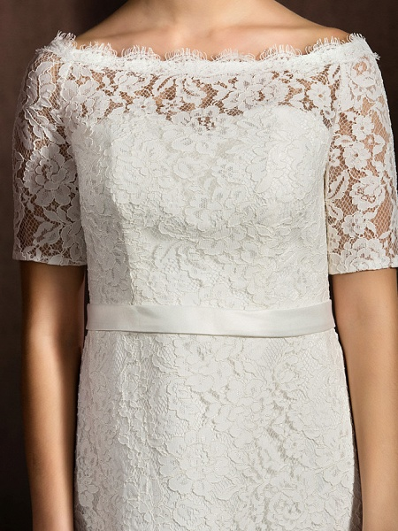 A-Line Wedding Dresses Bateau Neck Knee Length Lace Half Sleeve Formal Casual Little White Dress Illusion Sleeve_7