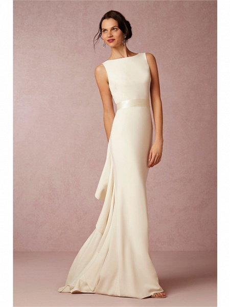 Sheath \ Column Wedding Dresses Bateau Neck Sweep \ Brush Train Satin Regular Straps Vintage Sparkle & Shine_1