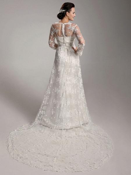 Sheath \ Column Wedding Dresses Square Neck Sweep \ Brush Train Lace Satin Long Sleeve_2