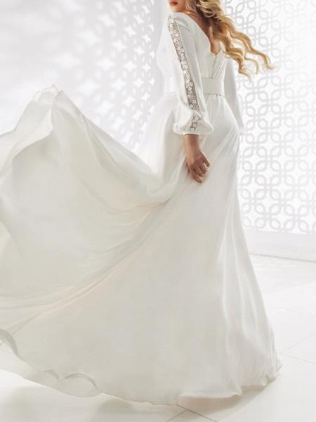 A-Line Wedding Dresses V Neck Floor Length Stretch Satin Long Sleeve Country Plus Size_2
