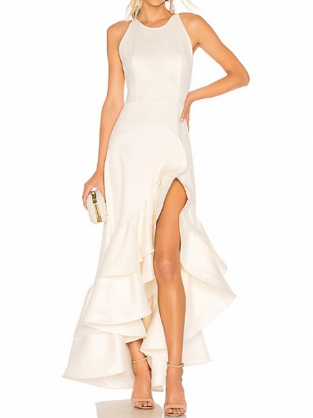 A-Line Wedding Dresses Jewel Neck Ankle Length Satin Tulle Regular Straps_1