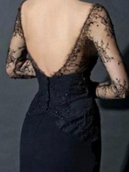 Mermaid \ Trumpet Wedding Dresses V Neck Sweep \ Brush Train Lace Tulle Long Sleeve Formal Black Modern Illusion Sleeve_2