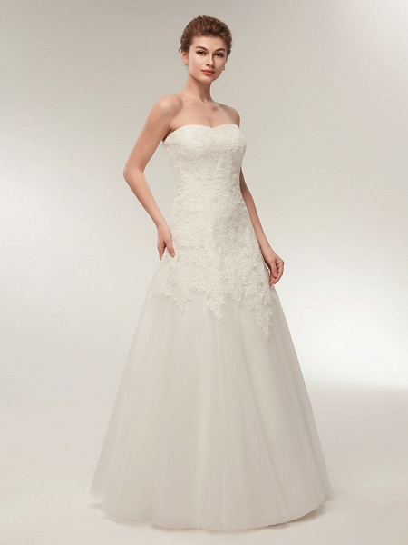 A-Line Wedding Dresses Strapless Floor Length Lace Tulle Strapless Formal Illusion Detail_3