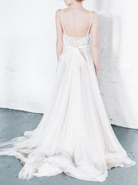 A-Line Wedding Dresses Jewel Neck Court Train Tulle Spaghetti Strap_3