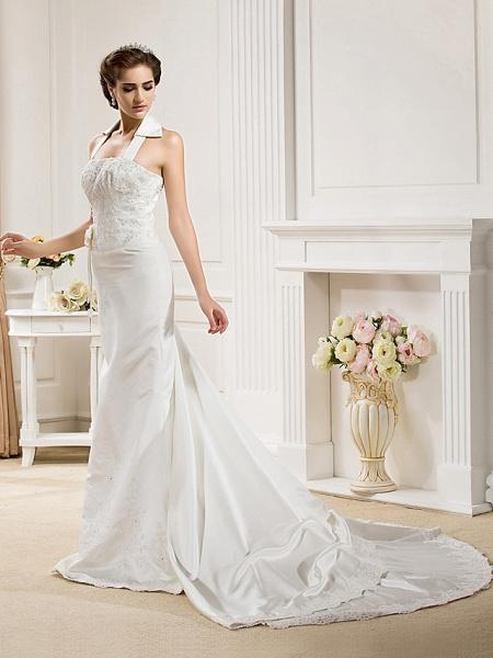 Mermaid \ Trumpet Halter Neck Court Train Satin Sleeveless Wedding Dresses_3