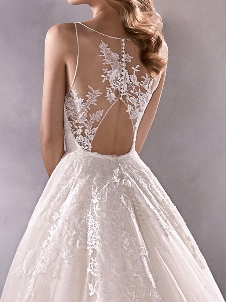 A-Line Plunging Neck Court Train Lace Tulle Sleeveless Country Plus Size Wedding Dresses_4
