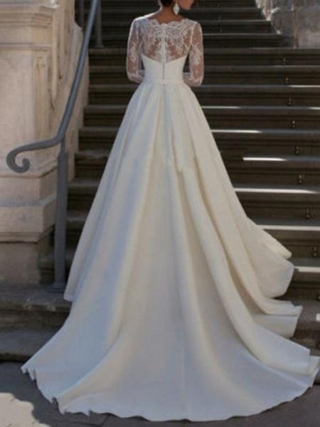 A-Line Wedding Dresses V Neck Sweep \ Brush Train Satin Long Sleeve_2