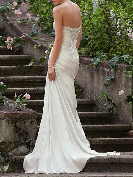 Mermaid \ Trumpet Wedding Dresses Strapless Sweep \ Brush Train Chiffon Over Satin Sleeveless Formal Sexy_3