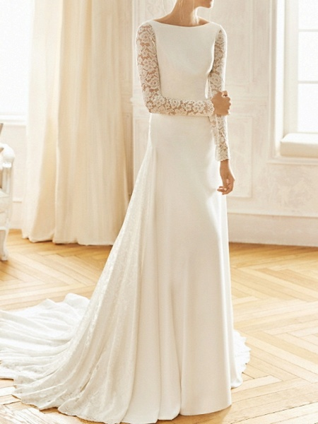 A-Line Wedding Dresses Bateau Neck Sweep \ Brush Train Lace Satin Long Sleeve Formal Backless Illusion Sleeve_1