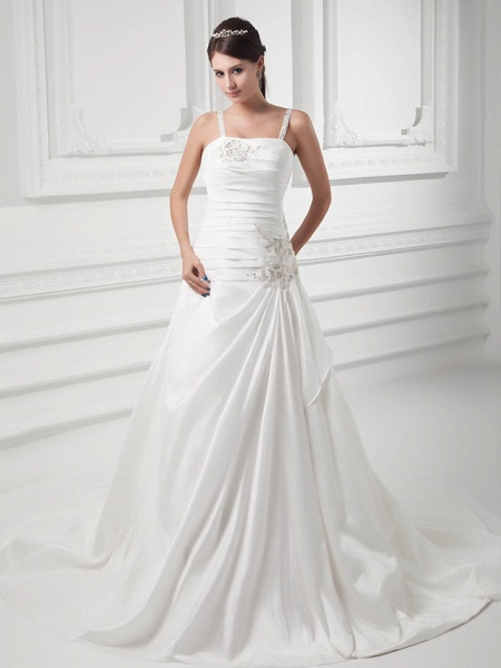 A-Line Square Neck Court Train Satin Taffeta Spaghetti Strap Wedding Dresses_1