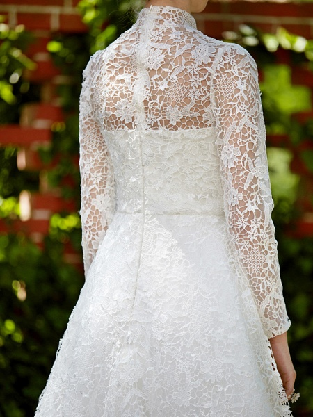 A-Line Wedding Dresses Illusion Neck Court Train All Over Lace Long Sleeve Floral Lace_12